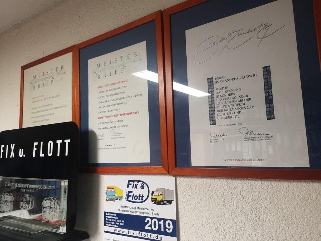 Firmenprofil Kfz-Meisterwerkstatt von Fix & Flott in Bochum Meisterbriefe